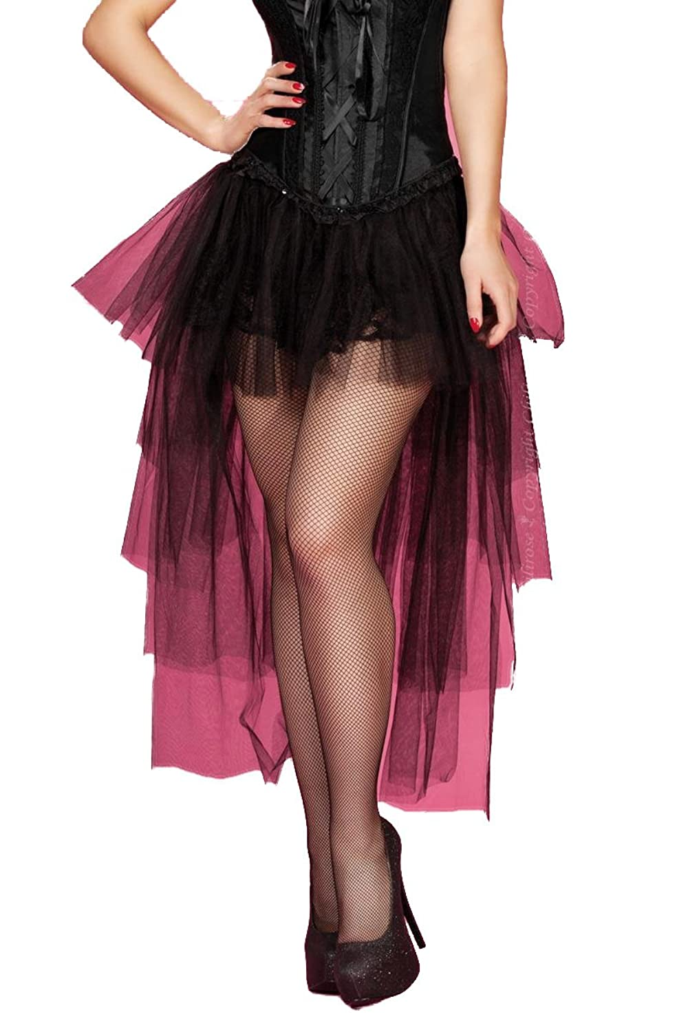 Black Mini skirt with tulle and Train with Floral Lace Women's Skirt