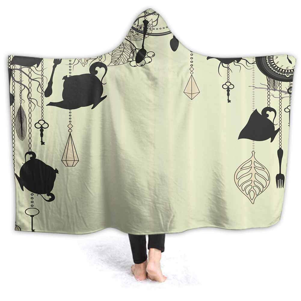 prunushome Hoodie Wearable Super Soft Throw Blanket Diamonds Forks Spoons Pattern Microfiber Fleece Throw for Sofa Couch 80W by 60H Inches(with Hooded)