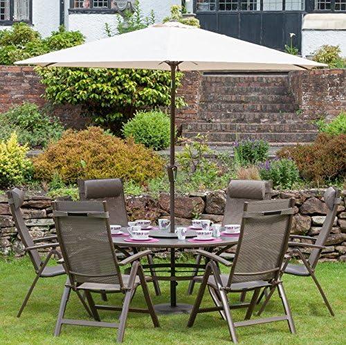 Juego de muebles de comedor de jardín para sombrilla grande redonda mesa de comedor cristal reclinable