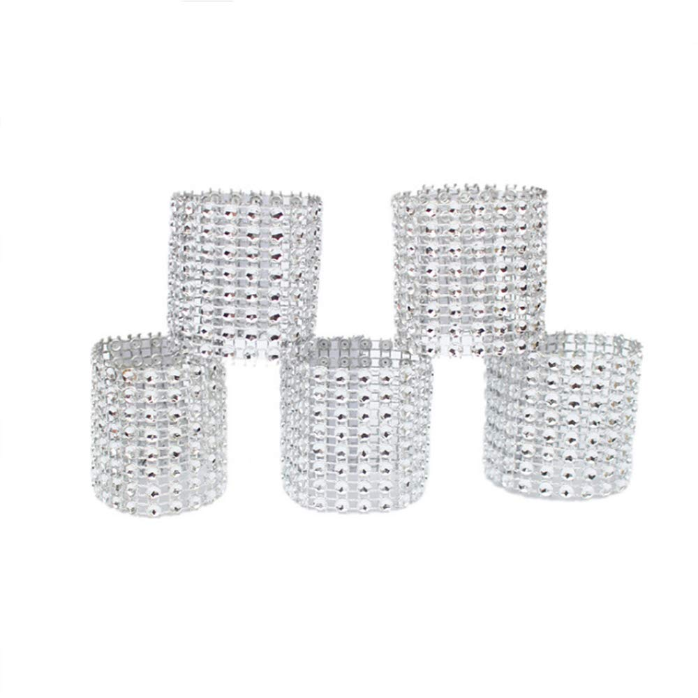 Napkin rings, silver rhinestone mesh bling napkin rings for wedding decoration,plastic chair sash bows,napkin holder for DIY party birthday banquet supply 5.12 x 1.57inch Pack of 120 Ltd.
