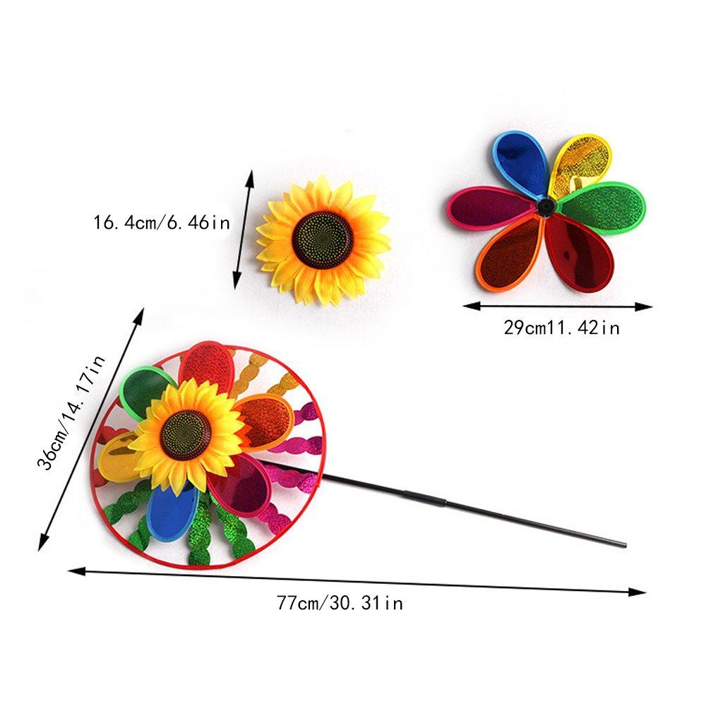 patio juguete para ni/ños Fogun colorido girasol giratorio de viento para decoraci/ón de jard/ín