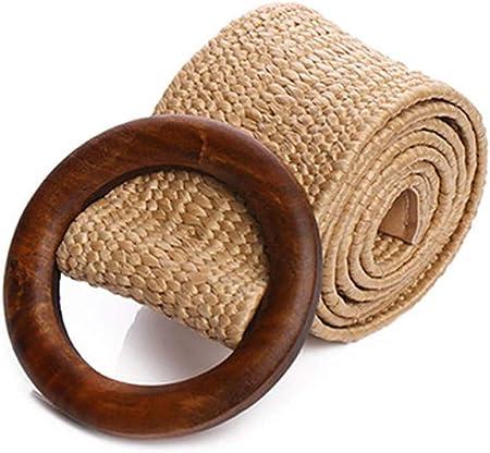 Wonepic Le Donne Skinny Summer Dress Cinghia di Modo Paglia Tessuto Elastico Stretch Waist Legno Banda Fibbia della Cintura Boho Intrecciata Cintura in Vita Vintage Apricot