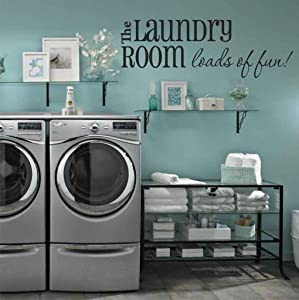 """Laundry Room Wall Decals - Loads of Fun 40"""" W X 14"""" H - Choose from Over 21 Color Choices!! Laundry Room Wall Decor,U34 Plus Free 12"""" White Hello Door Decal"""