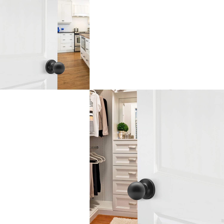 manija de seguridad interior para trastero dormitorio Pomo de puerta de privacidad con bola negra mate ba/ño 607 pomo de acero macizo