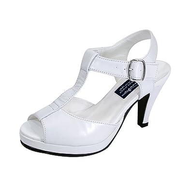 c4aa2b0e3f4 Peerage FIC Margie Women Extra Wide Width Platform Heeled Sandal White 6.5