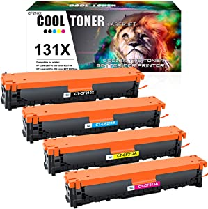 Cool Toner Compatible Toner Cartridge Replacement for HP 131A CF210A 131X CF210X Laserjet Pro 200 Color MFP M276nw M276n M251nw M251n M251 M276 CF211A CF212A CF213A (Black Cyan Yellow Magenta, 4-Pack)