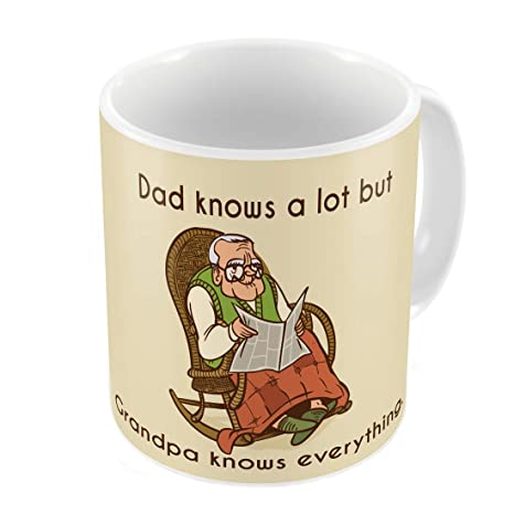 Indigifts Grandfather Birthday Gifts Grandpa Knows Everything Quote Illustration Beige Coffee Mug 330 Ml
