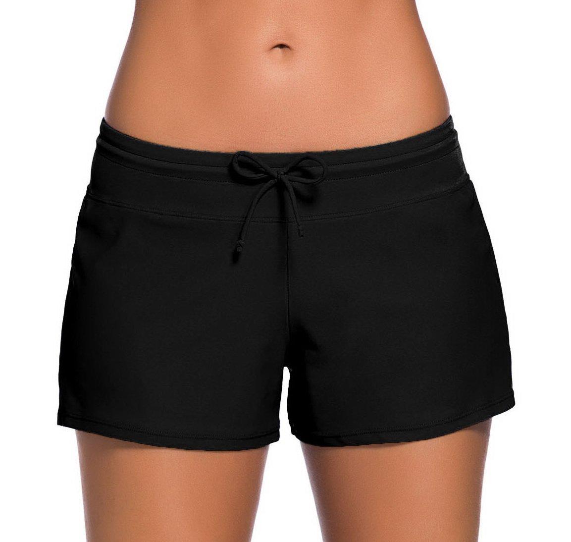 Sythyee Women's Swim Boardshorts Tankini Boyshorts Beach Bottom Swimsuit Built in Briefs Black Size S