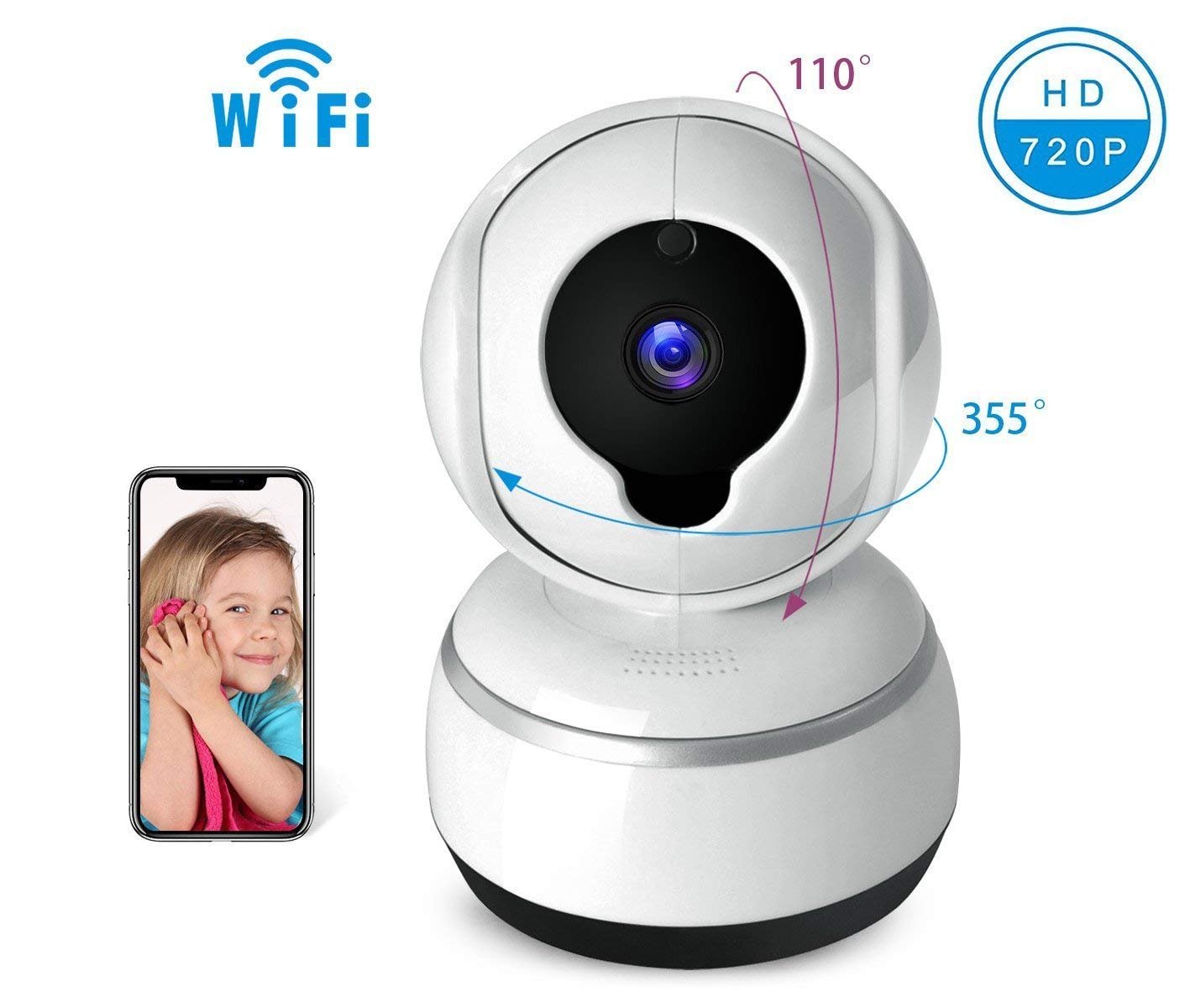 Baby Camera IOS/Android APP Remote Control Camera, 2.4GHz WIFI Camera, 720P HD IP Camera, Two-Way Voice Intercom, Move Alarm, Infrared Night Vision Function, Pan/Tilt/Zoom with Home Security System