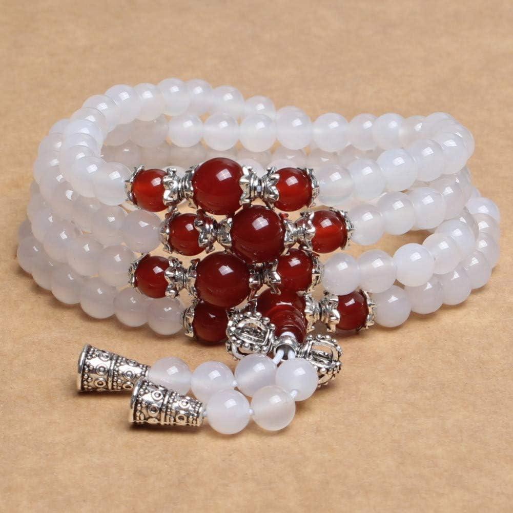 ABDYTE Perlas Redondas De Cuarzo Blanco Y Rojo Natural Encantos De Plata Tibetana Pulseras Curativas De Regalo Afortunado para Mujeres