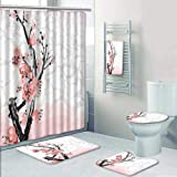 AmaPark 5 Piece Bath Rug Set,Cherry Blossom Sakura Tree Branch Soft Pastel  Watercolor Print