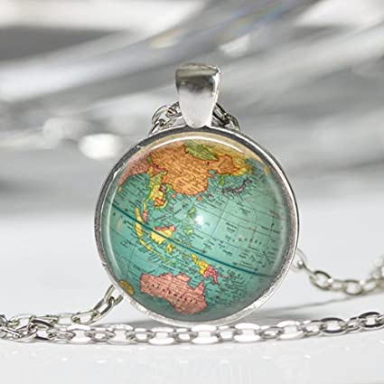 Amazon vintage globe necklace planet earth world map art vintage globe necklace planet earth world map art pendant in bronze or silver with link chain gumiabroncs Images