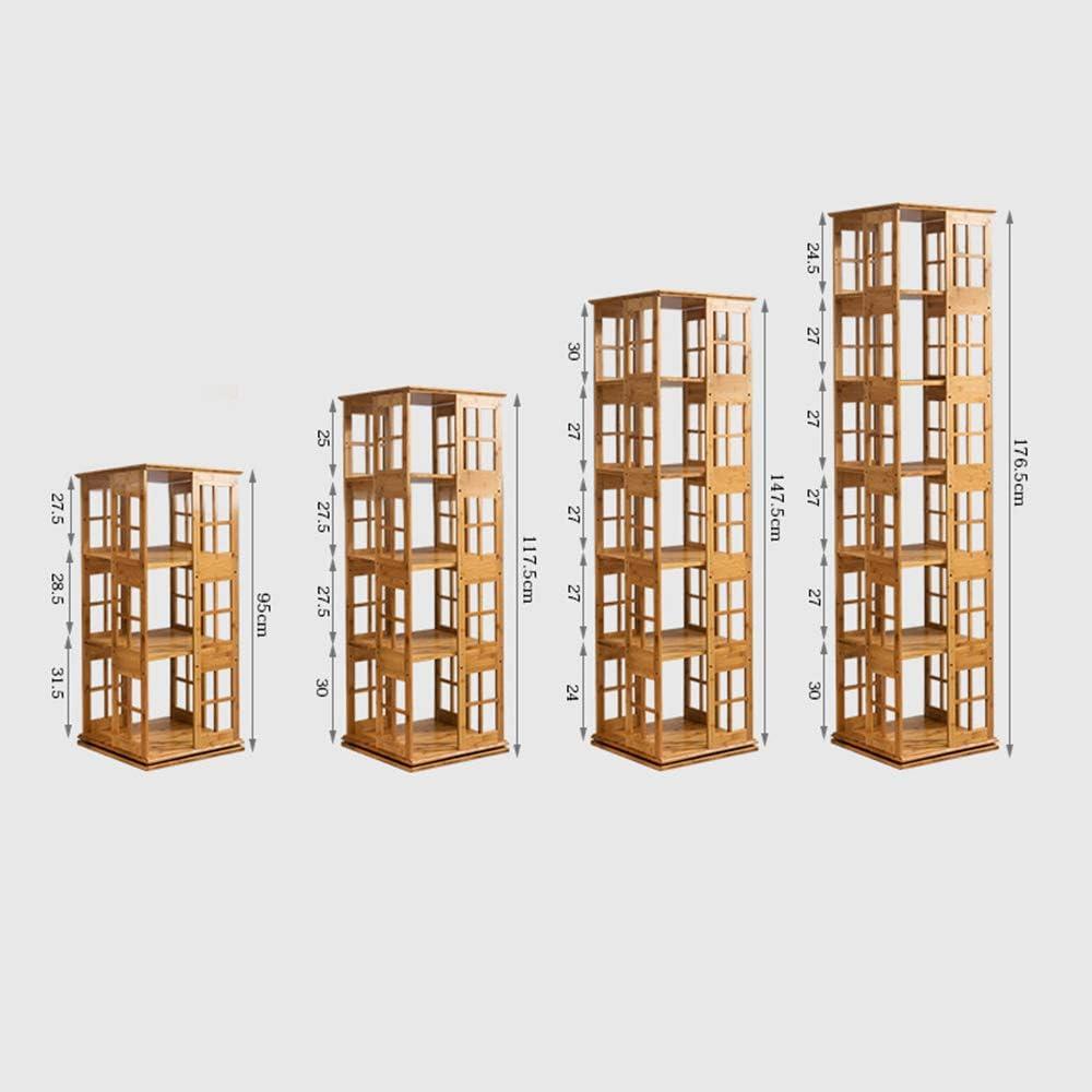 HAIZHEN /Étag/ères de Rangement Biblioth/èque tournante en Bambou Naturelle Tour de Support pivotant 360 Forte stabilit/é Bambou Naturel Taille : 5-Tier