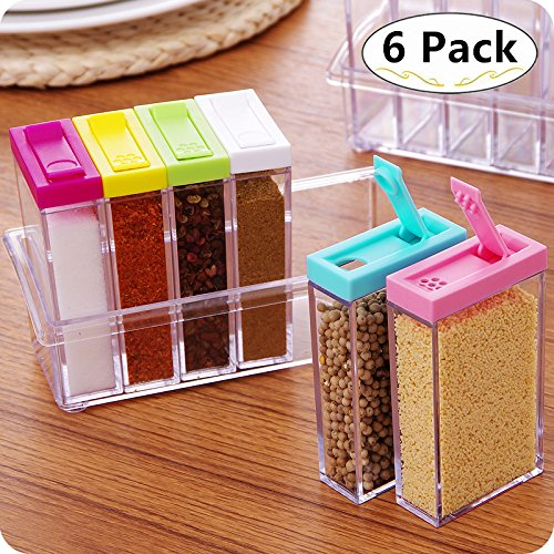 6 Spice Seasoning Bottles with Tray, Magnolora Condiment Storage Containers Salt Sugar Spice Pepper Seasoning Cans Seasoning Jars Bottles for Kitchen Cooking and Outdoor Barbecue