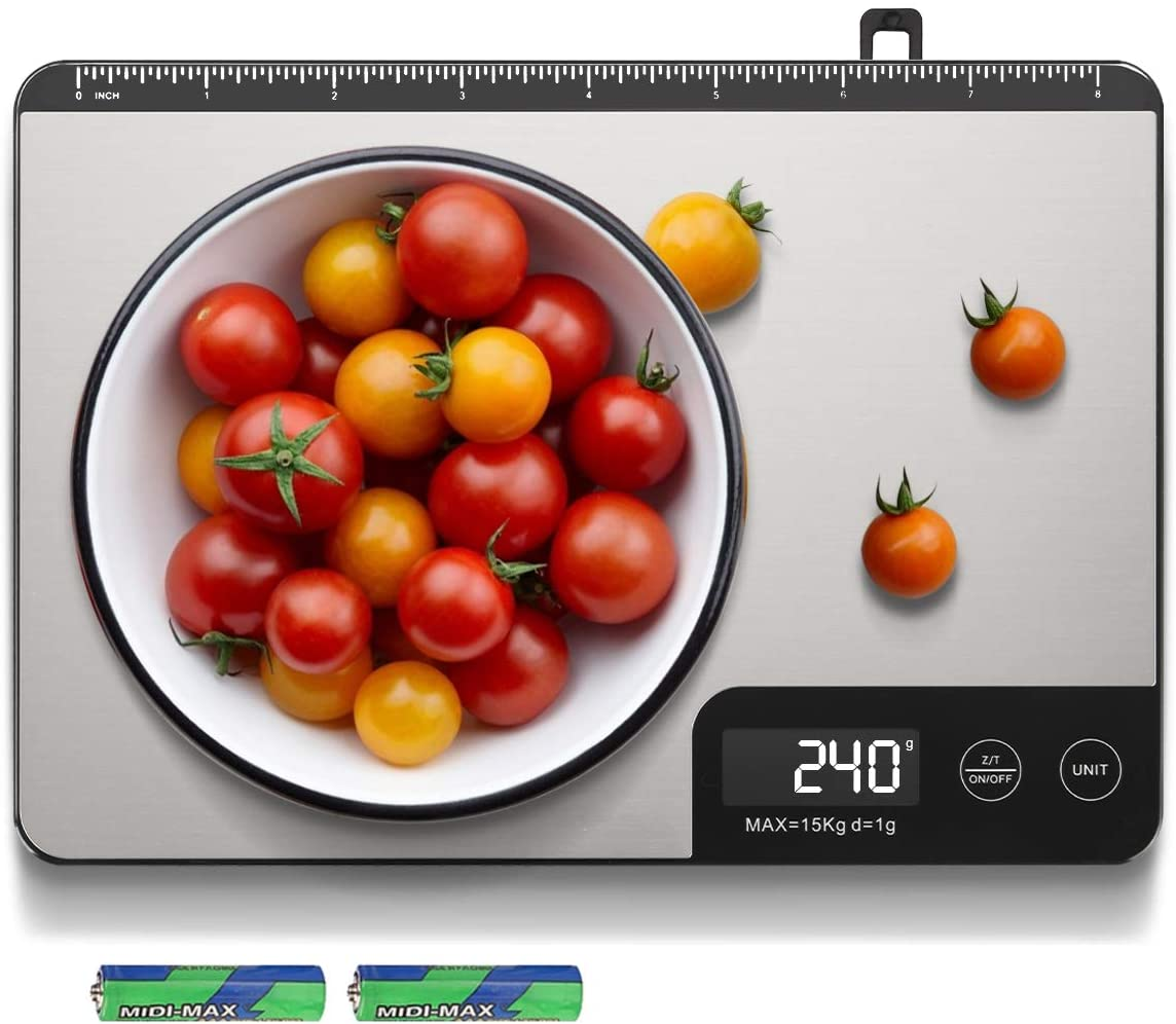 Amiloe MAX 33lb Kitchen Scale with Measure Length(8inch), Food Scales Digital Weight Grams and Oz with Shrink Hook, 6 Units, Tare Function, High Precision to 1g/0.1oz for Baking and Cooking