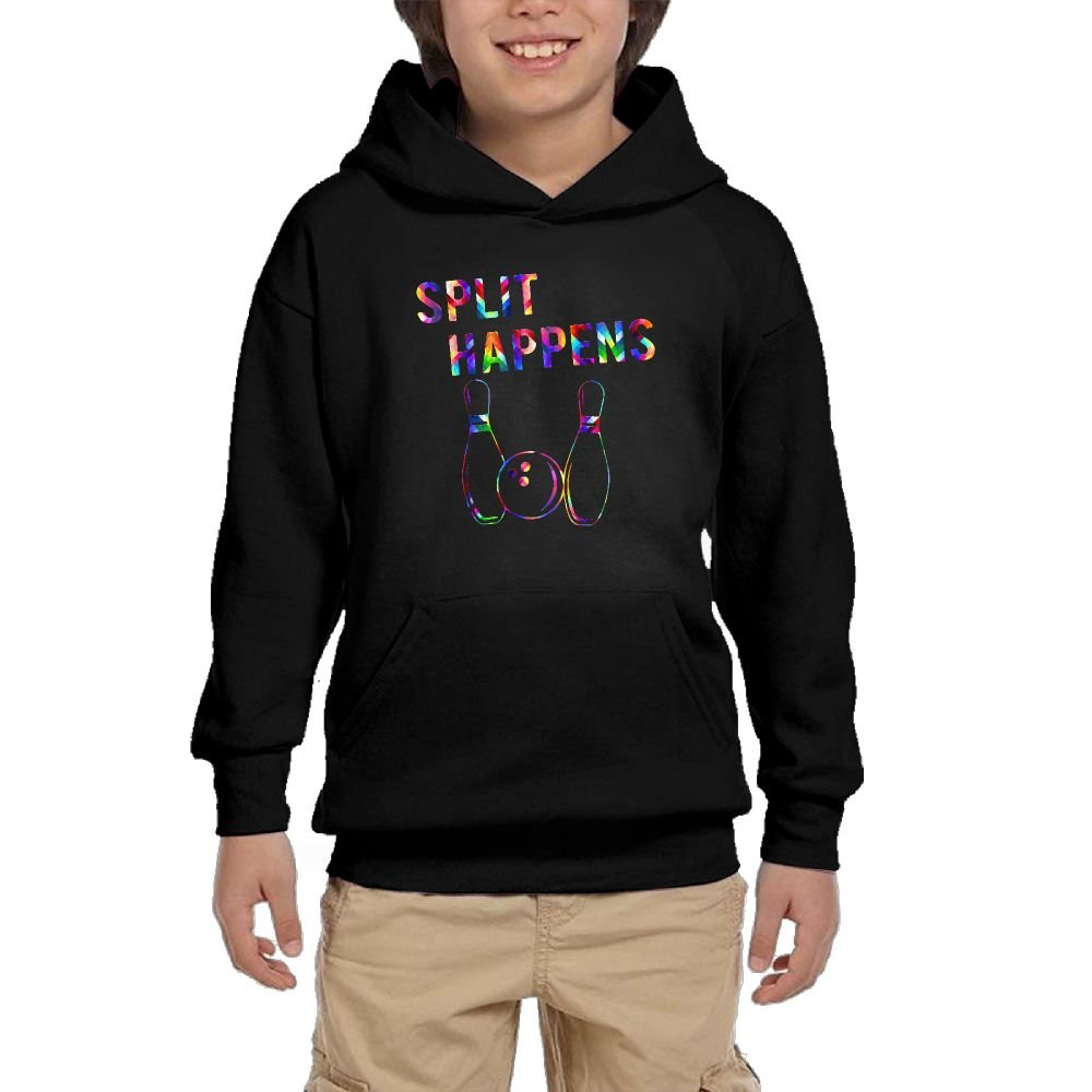 Youth Black Hoodie Split Happens Funny Bowling Team Hoody Pullover Sweatshirt Pocket Pullover For Girls Boys L