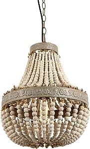 Newrays Wood Bead Chandelier Pendant Gray White Finishing Retro Vintage Antique Rustic Kitchen Ceiling Lamp Light Fixtures