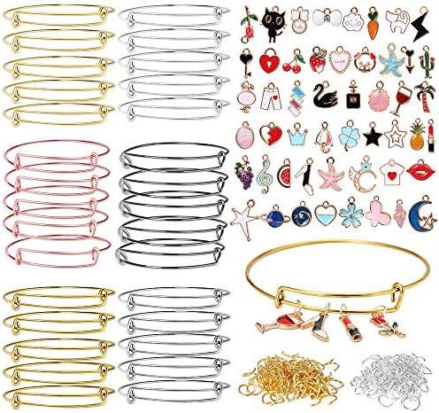 ONESING 480Pcs Expandable Bangle Bracelets Jewelry Making Charms for Bangle Bracelets Adjustable Wire Blank Bracelets with Enamel Charms for DIY Craft Bracelets 6 Colors