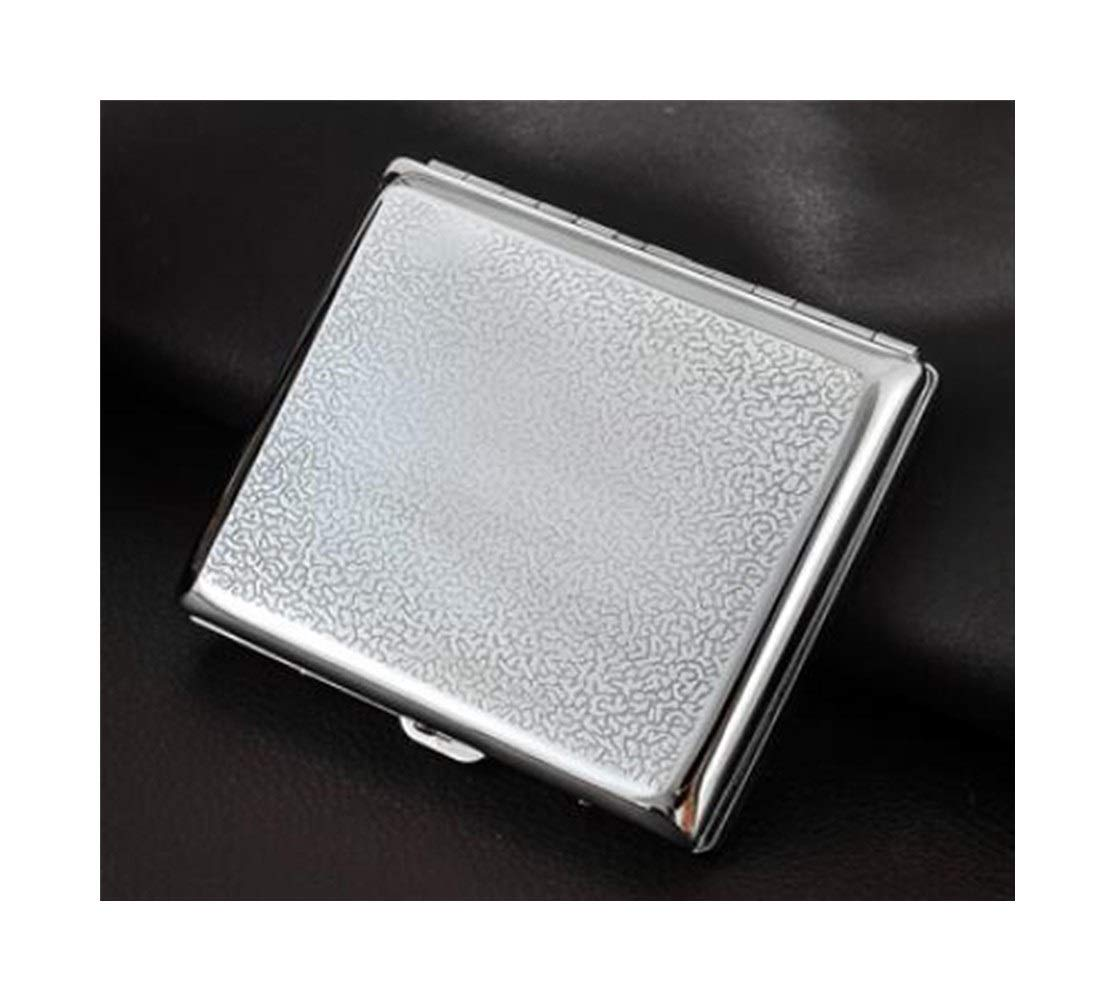 Jinfengtongxun Cigarette Case, Men's Personality Ultra-Thin Metal Cigarette Case, High-end Gift, Can Hold 20, Silver Multi-Pattern, 9.5 8 1.8cm (Color : Silver4, Size : 9.581.8cm)