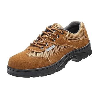 NON Sharplace Zapatos de Seguridad Antideslizante Botas de Acero Ligero de Trabajo de Cuero con Suela