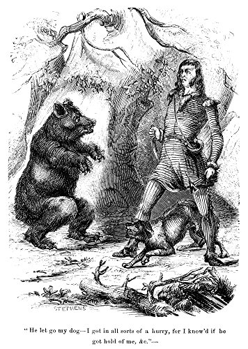 Davy Crockett (1786-1836) Namerican Frontiersman Crockett Meets A Bear Wood Engraving From A C1850 Edition Of His Autobiography Poster Print by (24 x 36)