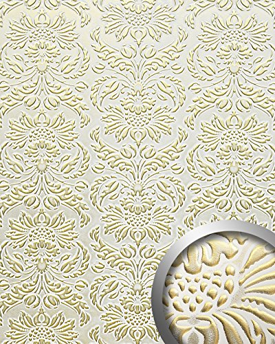 - WallFace 14793 IMPERIAL Wall panel leather baroque damask 3D interior wall decor self-adhesive white gold | 2,60 sqm