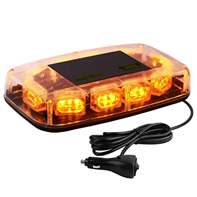 YITAMOTOR Upgrade Amber Strobe Lights - High Intensity Law Enforcement Emergency Hazard Warning LED Mini Bar Strobe Light with Magnetic Base Compatible with Snow Plow, Trucks, Construction Vehicles: Automotive