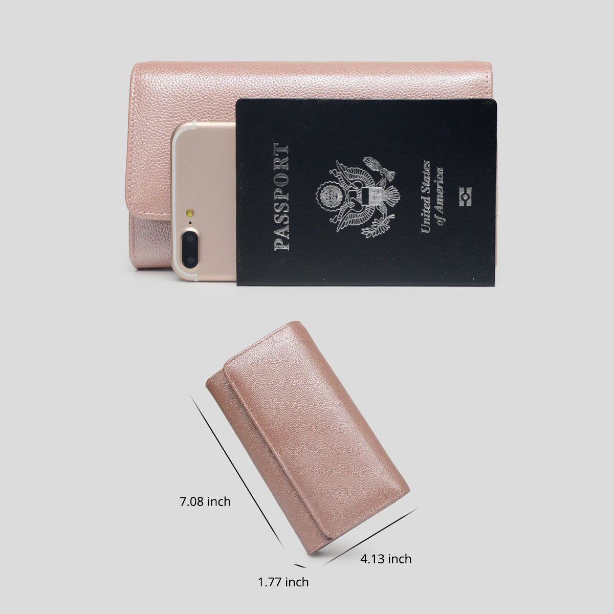 Women RFID Leather Trifold Wallet Cossbody Purse Clutch with Chain Strap (Rose Gold) by Bveyzi (Image #7)