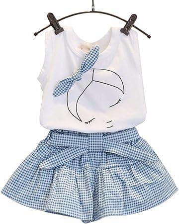 Bebe Niña Camiseta mangas corta Patrón de arco Camisa Tops + Pantalones cortos de cuadrícula Verano Conjunto de ropa chica 2 Años - 7 Años (Blanco, ...
