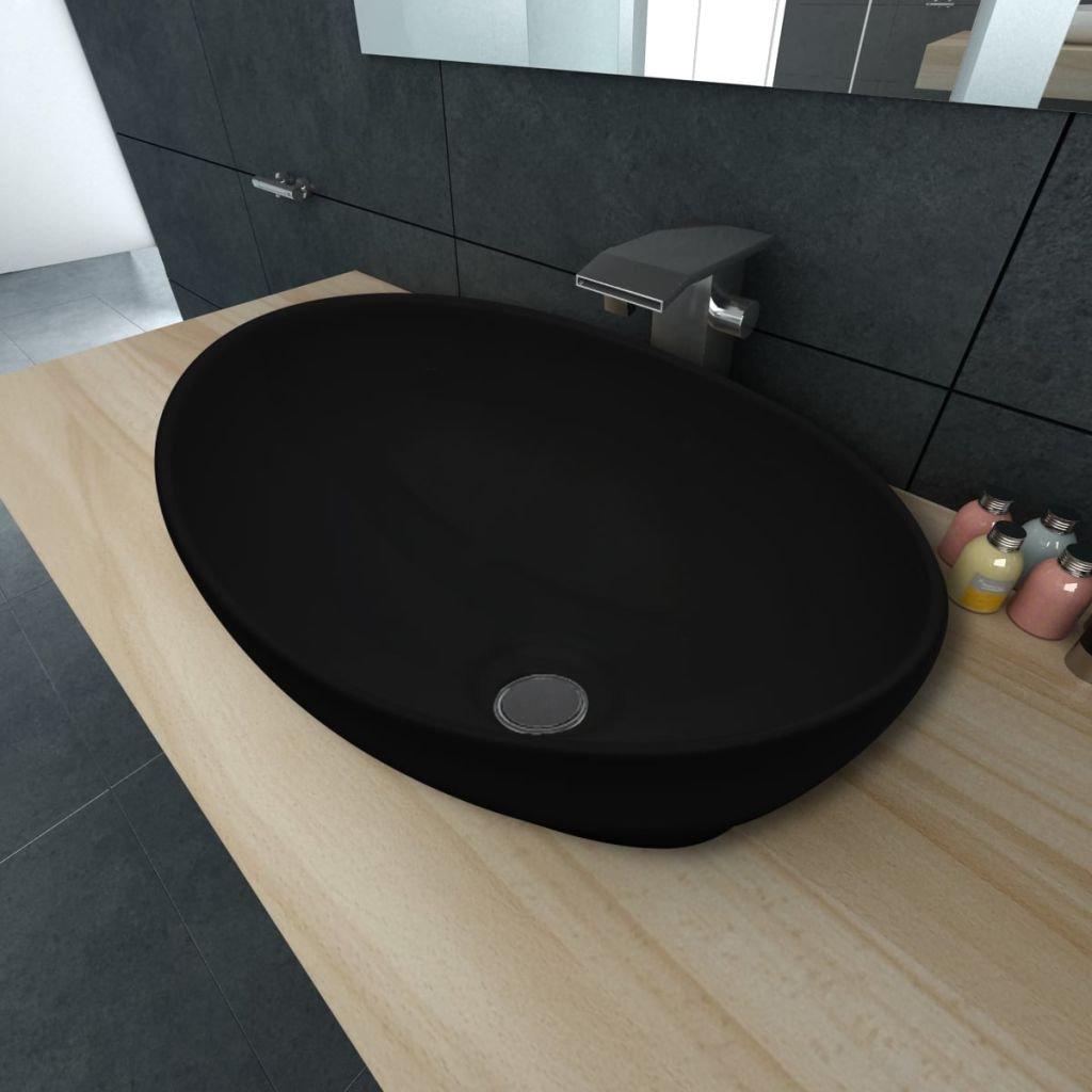 Lavabo c/éramique perle Merle Cristaux en forme ovale noir 40/x 33/cm