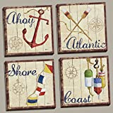 WallsThatSpeak 4 Nautical Themed Sailing Art Prints Sailboat Boating Decor, 12 by 12-Inch, Stretched Canvas, Ready to hang!