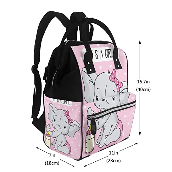 Blueangle Cute Cartoon Elephant Print Waterproof Wet Bags Wipes Swimsuit,Daycare Wet Dry Bag for Cloth Diapers 2 Pack Machine Washable