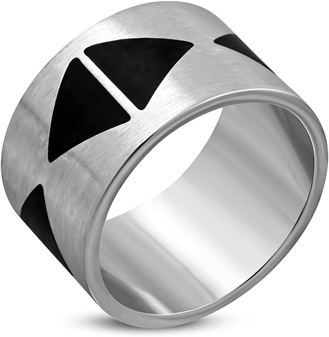 Stainless Steel Matte Finished 2 Color Triangle Wide Flat Band Ring