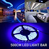 MIHAZ Led Strip Lights, Light Outdoor Strips 16.4ft 5M 300 Leds 2835 Waterproof Blue Lighting White PCB Power Supply For Home and Kitchen Decoration