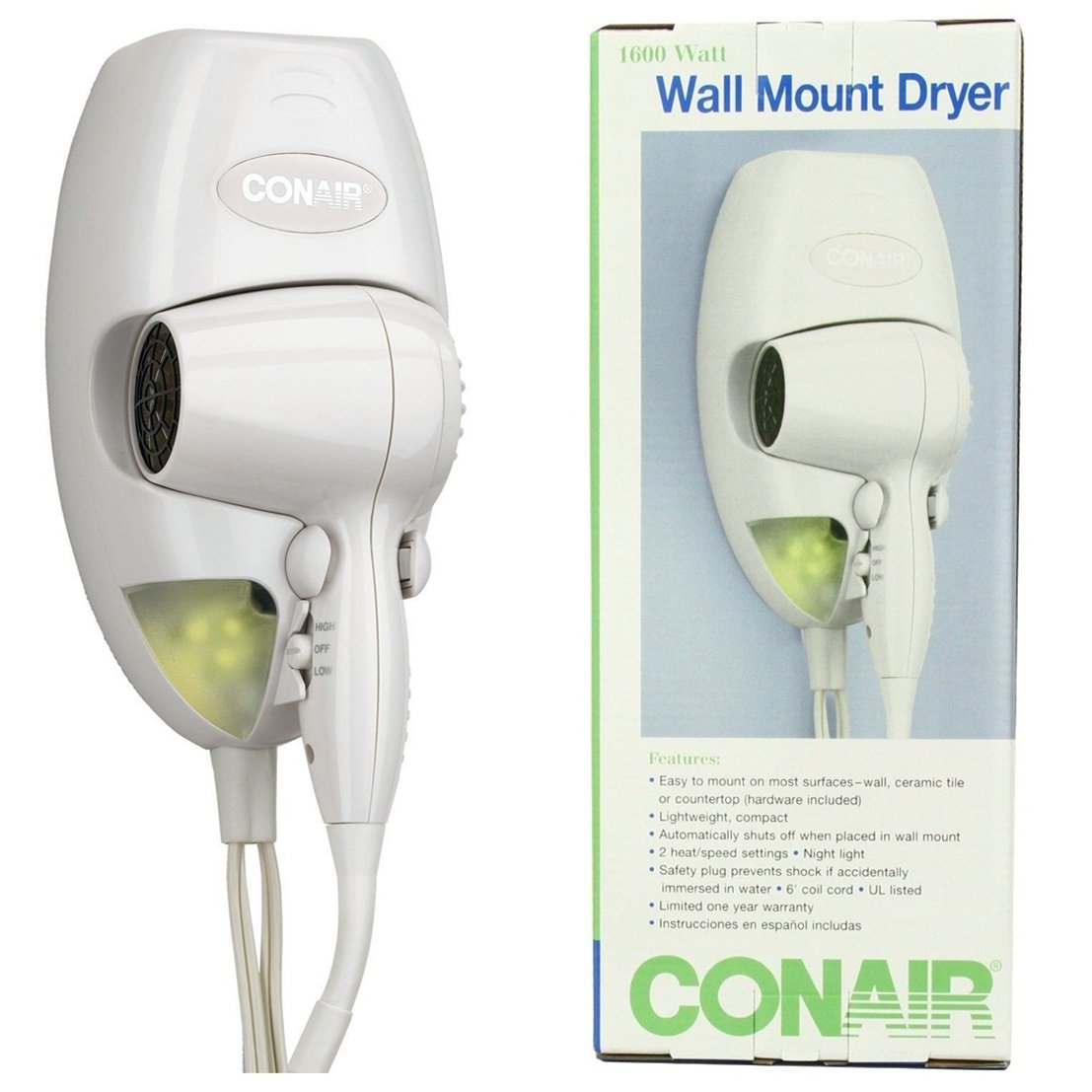 Worthy Popular Hair Dryer with LED Nightlight Bathroom Bright Wall Mount Salon Beauty Color White
