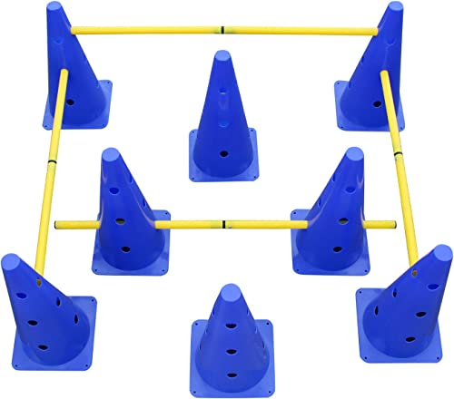 Get Out Hurdle Cone Set Training Cones and Agility Poles, Adjustable Agility Ladder Speed Training Equipment for Kids