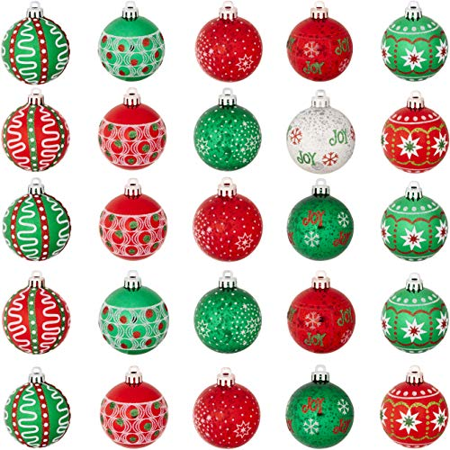 Shatterproof, Extra Festive 2 Inch Ball Ornaments 30 Pack. Bright Red and Green Colored Baubles Perfect for Decorating Xmas Trees. Best Colorful Glitter Bulb Ornament Set for Christmas Tree Decoration (Balls With Christmas Decorating)