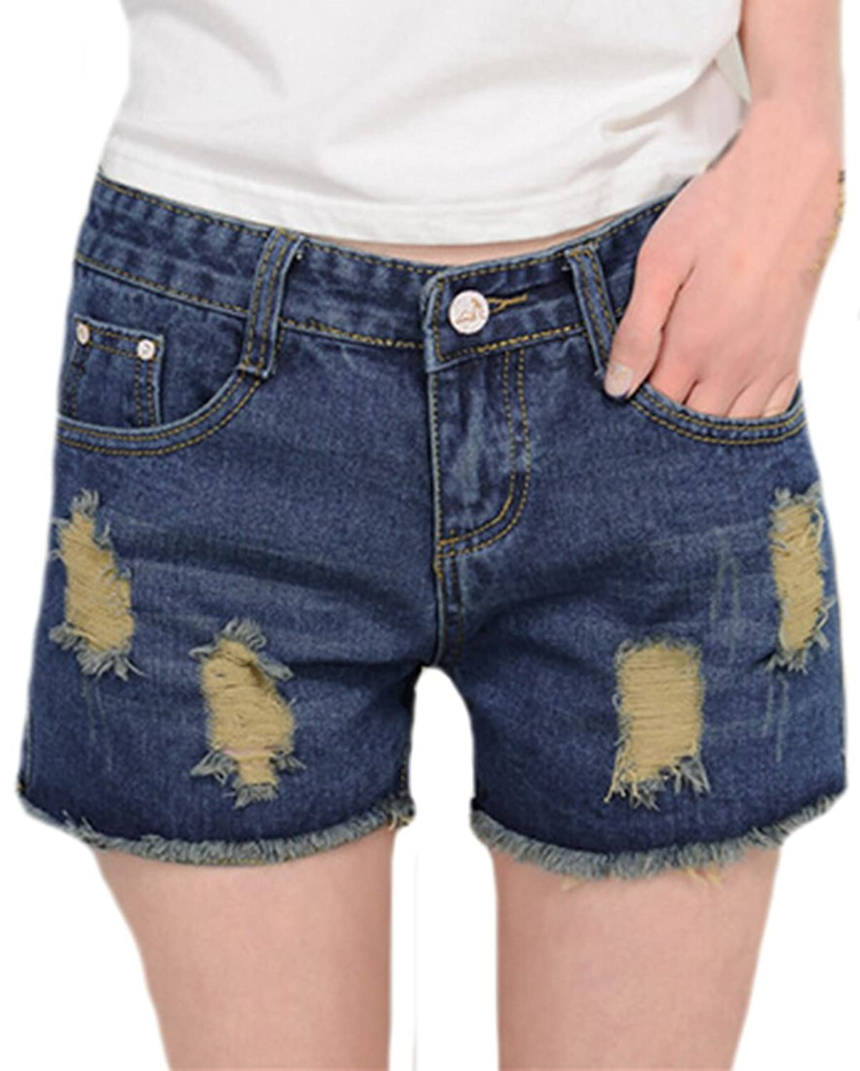 MLG Womens Casual Tassel Trim Ripped Holter Jeans Shorts