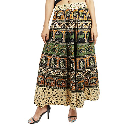 Suman Enterprises Indian Women Ethnic Floral Print Cotton Long Skirt Hippie Gypsy Big Flare Skirt (Blue & Green)