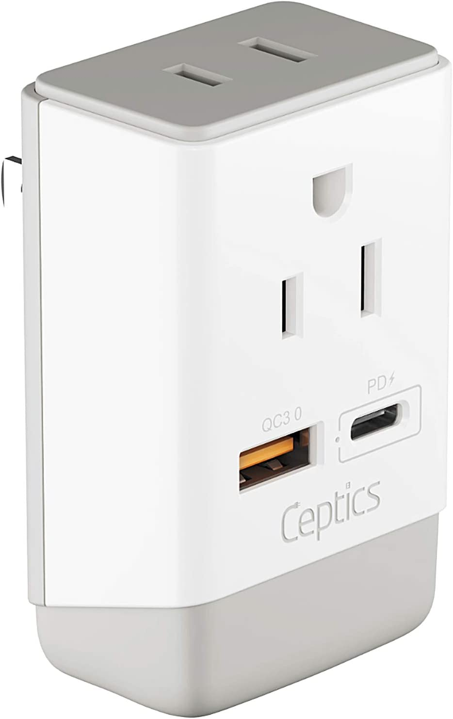 Japan, Philippines Power Plug Adapter Travel QC 3.0 & PD by Ceptics, Safe Dual USB & USB-C - 2 USA Socket Compact & Powerful - USA 3 Pin Polarized to 2 Prong Unpolarized - Type A - AP-6 Fast Charging