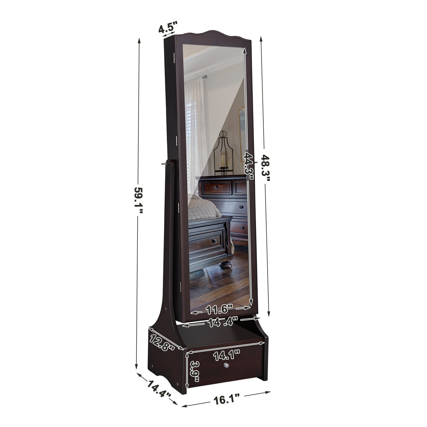 SONGMICS LED Jewelry Cabinet Lockable Jewelry Armoire with Full Length Mirror, Makeup Tray and Large Drawer Base Brown Patented Mother's Day Gift UJJC87BR by SONGMICS (Image #8)