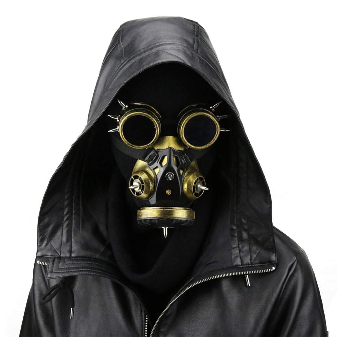 UZZHANG Biohazard Steampunk Gasmaske Goggles Spikes Skeleton Krieger Death Mask Masquerade Cosplay Halloween Kostüm Requisiten (Farbe   Style2) Style1