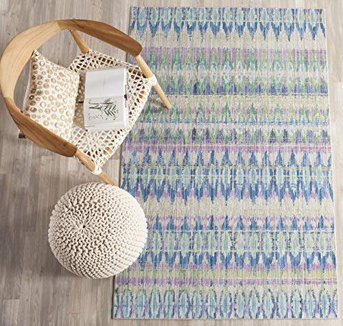 Safavieh Valencia Collection VAL220M Purple and Multi Distressed Bohemian Silky Polyester Area Rug 4 x 6