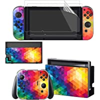 Sololife Nintendo Switch Skin Full Set Faceplate Skin Decal Stickers for Nintendo Switch with 2Pcs Screen Protector (Console & Joy-con & Dock & Grip) Colorful