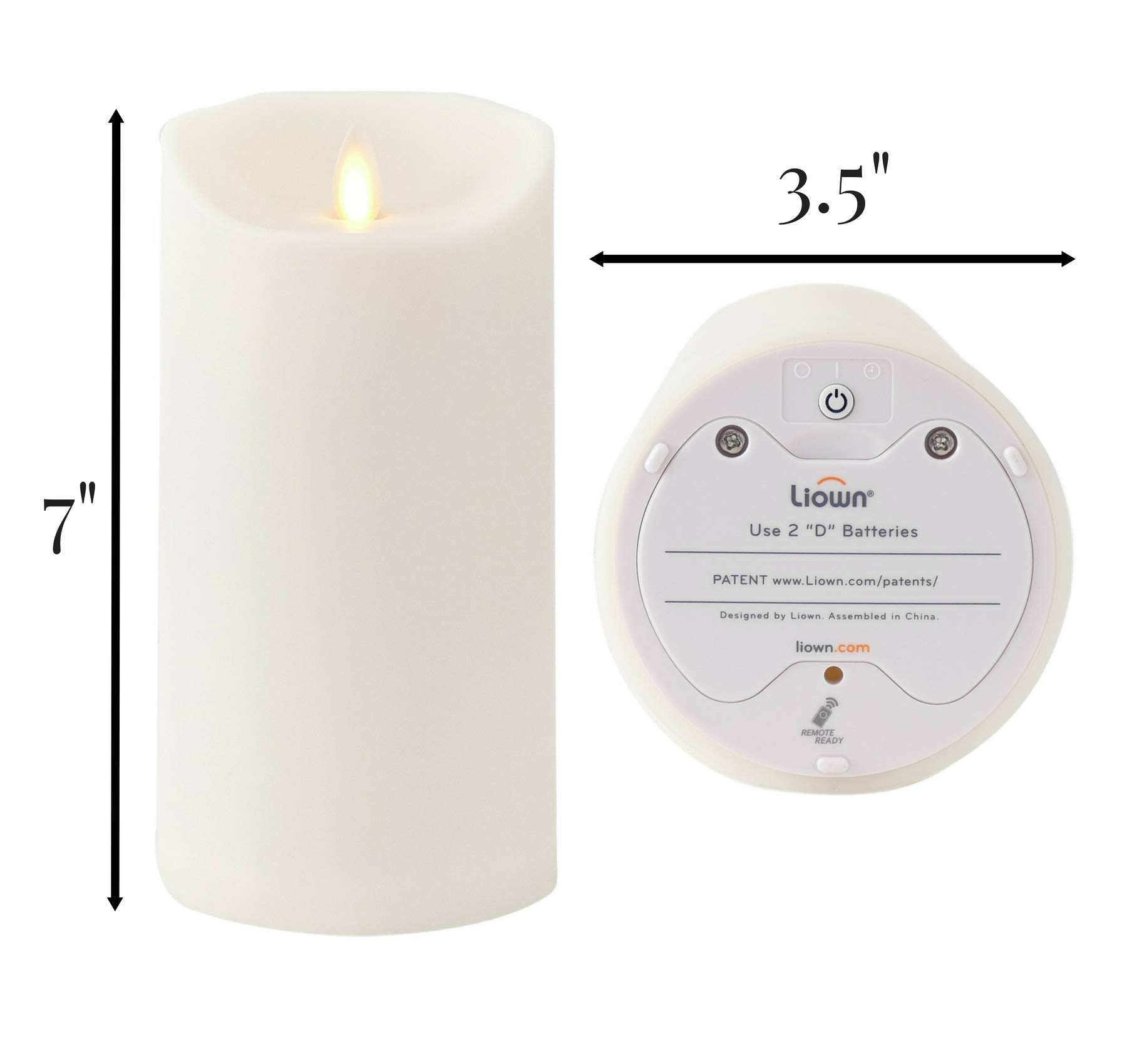 Liown Outdoor Moving Flame Candle: LED Battery Operated Waterproof Plastic Flickering Indoor Outdoor Flameless Candles with Timer (7'' Ivory) by Liown (Image #7)