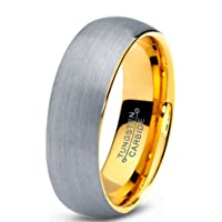 Tungsten Wedding Band Ring 7mm for Men Women Comfort Fit 18K Yellow Gold Plated Domed Brushed