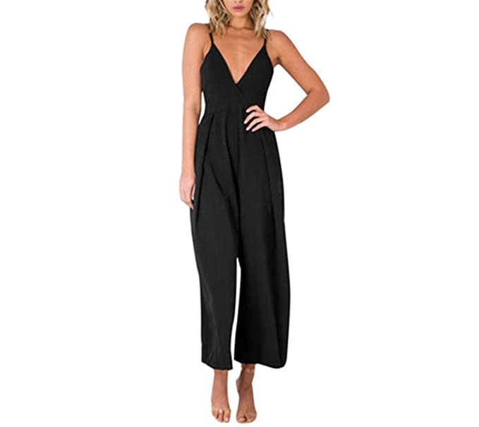 280d345f4087 Cheryl Bull Elegant Women Romper Sleeveless Wide Leg Jumpsuit Deep V Neck  Backless Bandage Spaghetti Strap