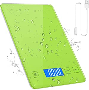 ORIA Kitchen Scale, Digital Food Scale, USB Rechargeable and with Waterproof Glass Body, Kitchen Weighing Scale, High Accuracy Multifunctional Food Scale Target in Grams, Ounces, and Liquid, Green
