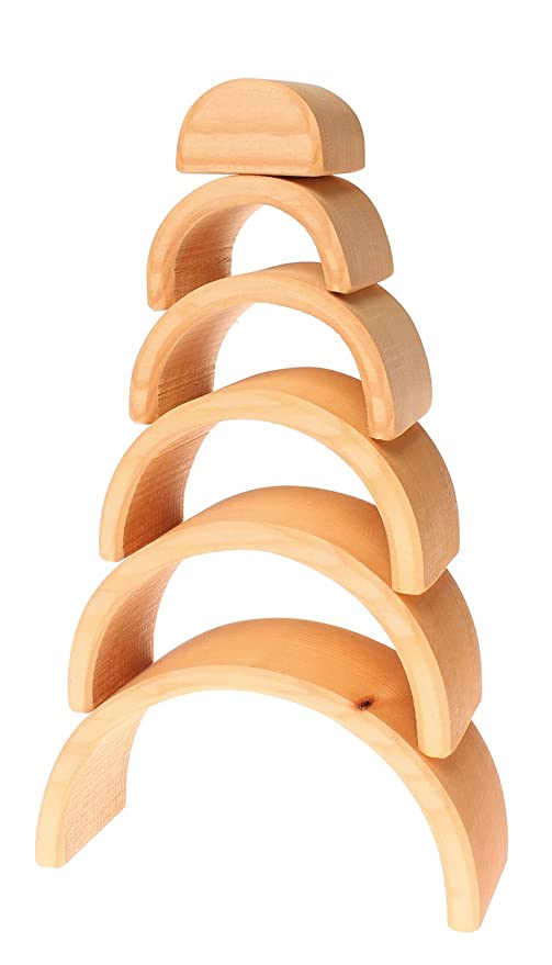 Grimms Large 6-Piece Wooden Stacking & Nesting Rainbow ...
