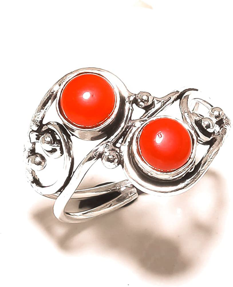 Ancient Handmade Jewelry Sizable Red Coral Sterling Silver Overlay 4 Grams Ring Size 9.5 US